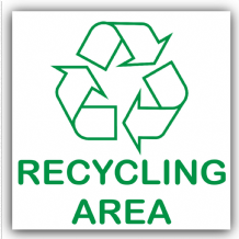 1 x Recycling Area Adhesive Sticker-Recycle Logo Sign-Environment Label